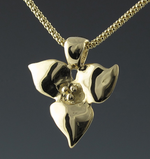 Trillium 'Small' Gold Pendant 14KY | Mary Ann Archer