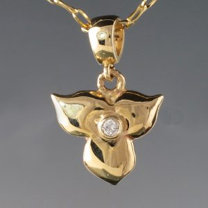 "Trillium 'Tiny"" Diamond Pendant 14KY 