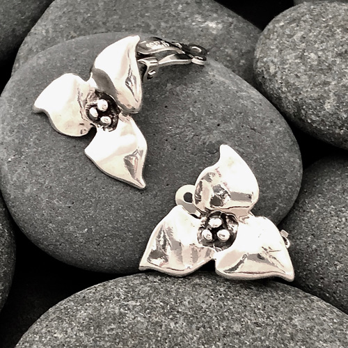 Trillium Clip Earrings | Trillium Jewelry Collection | Mary Ann Archer