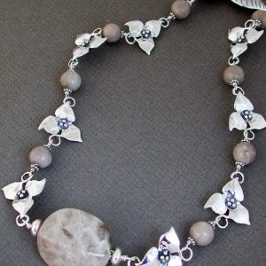 Trillium and Petoskey Stone Necklace | Mary Ann Archer